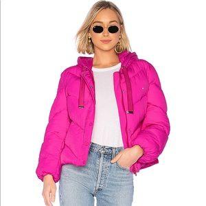 Lovers + friends Hooded Puffer jacket in Magenta